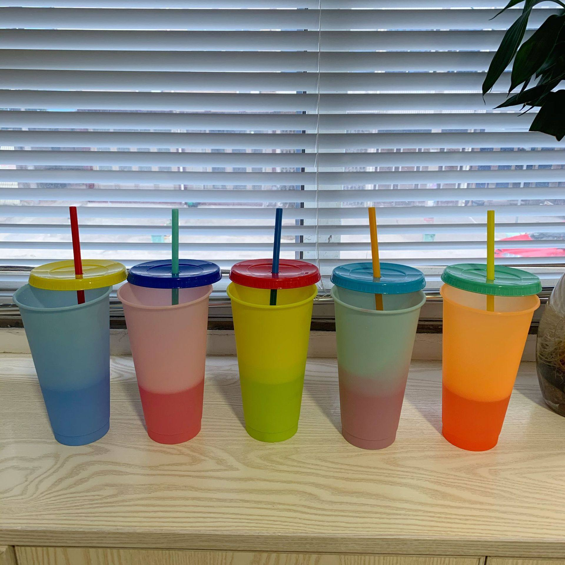 Color Change Cup With Lid & Straw