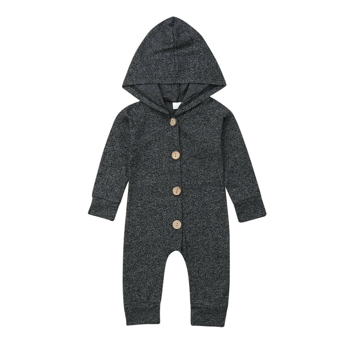 Autumn Newborn Kids Baby Boys Solid Color Long Sleeve Hooded Romper Jumpsuit Top Outfits