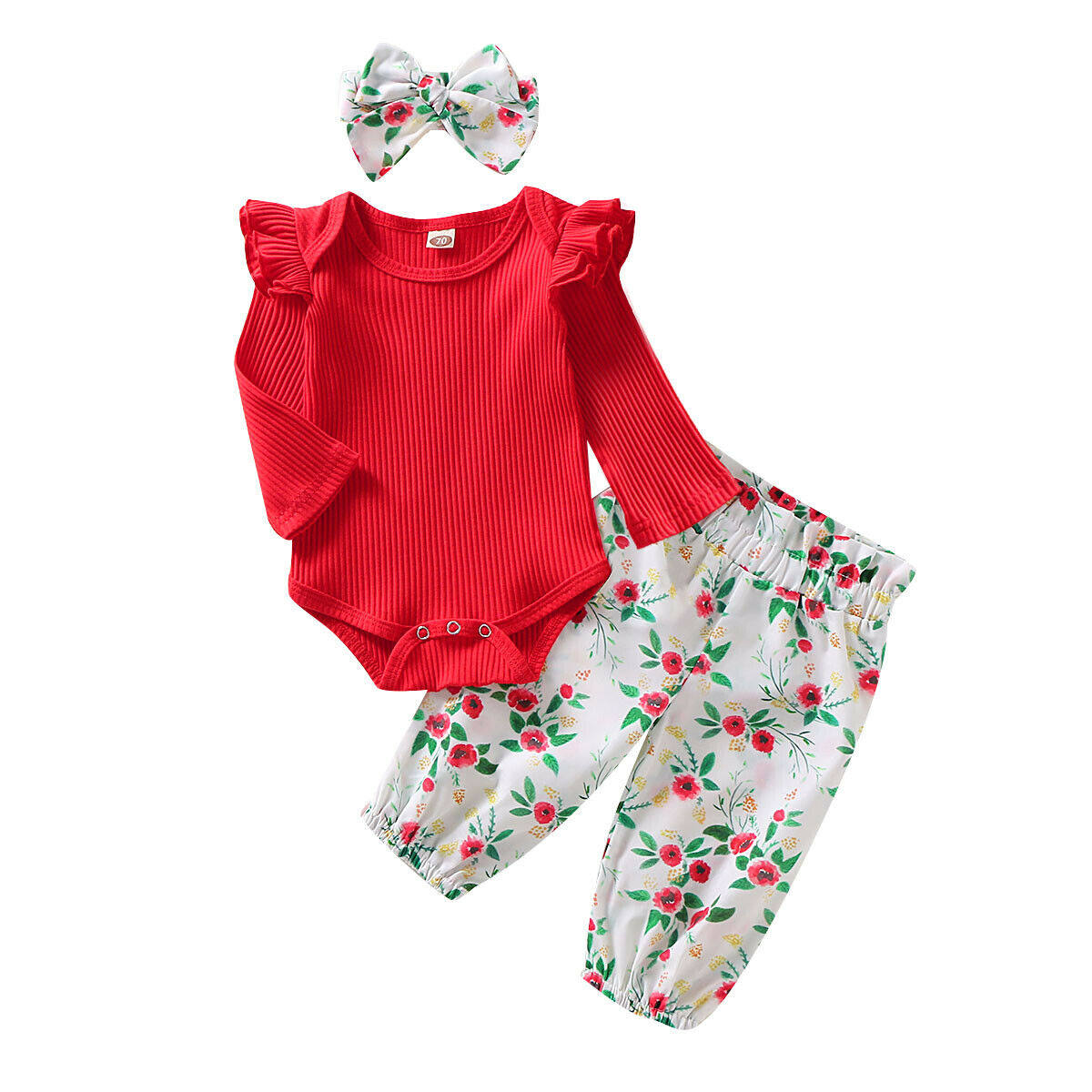 3PCS Cute Newborn Baby Girl Outfits Clothes Tops Romper+Long Pants Set US