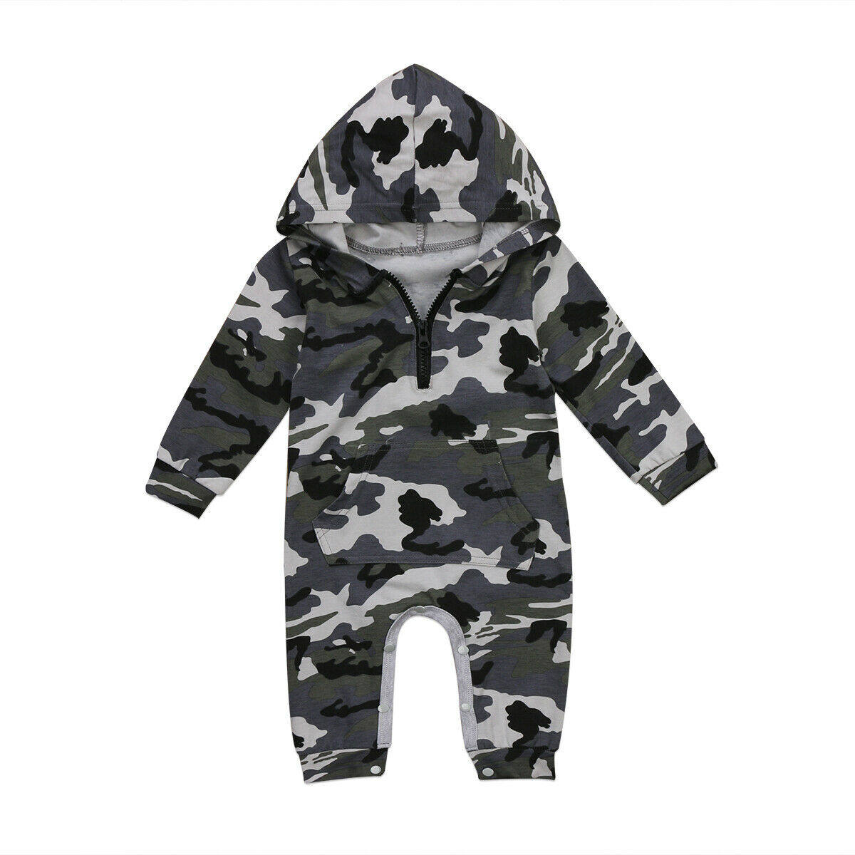 US Newborn Baby Infant Boy Girl Romper Hooded Jumpsuit Bodysuit Outfits Clothes
