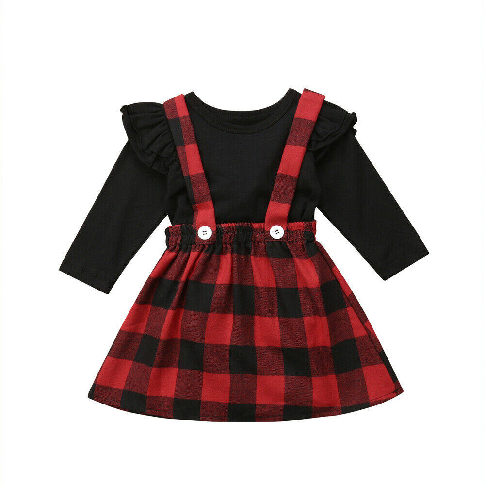 Autumn Toddler Baby Girl Long Sleeve Plain T Shirts Plaid Overall Skirt Set Cotton Outfits