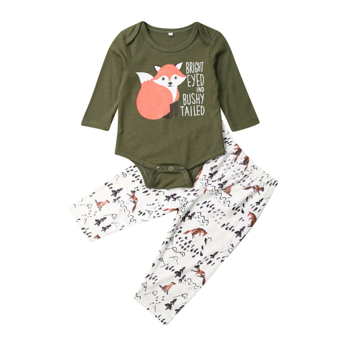 Autumn Newborn Toddler Baby Boy Girl Fox Cotton Tops Shirts Pants Clothes Outfit