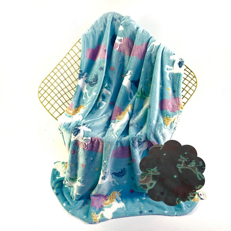 Multifunctional Flannel Fleece Unicorn Glow In The Dark Baby Blanket